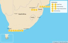 Map thumbnail of Classic South Africa: Cape Town, Johannesburg, & Kruger Safari - 16 Days