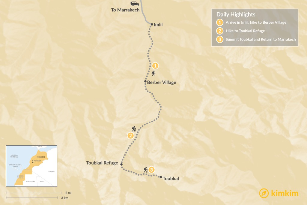 Map of Hiking Morocco's Mount Toubkal