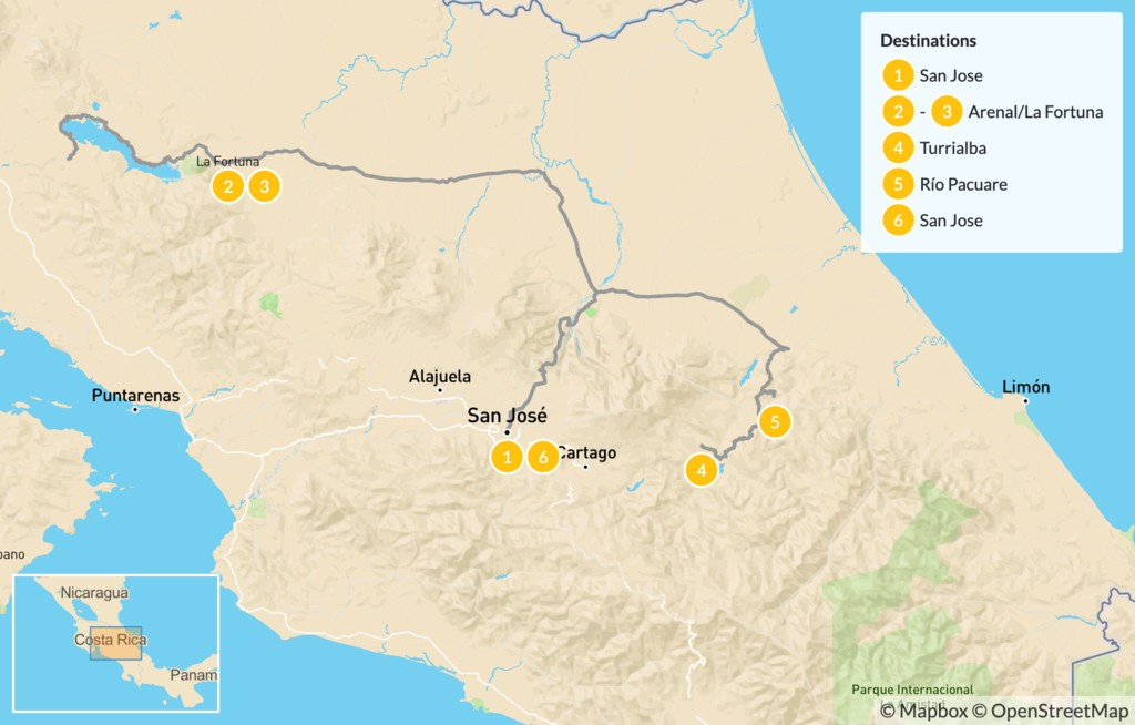 Map of Costa Rica Cycling Around Arenal & Rafting Adventure - 7 Days