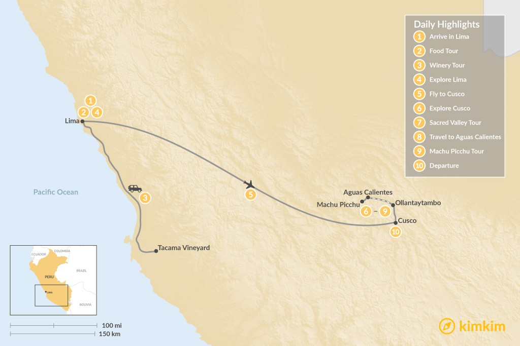 Map of Peru Honeymoon Highlights - 10 Days
