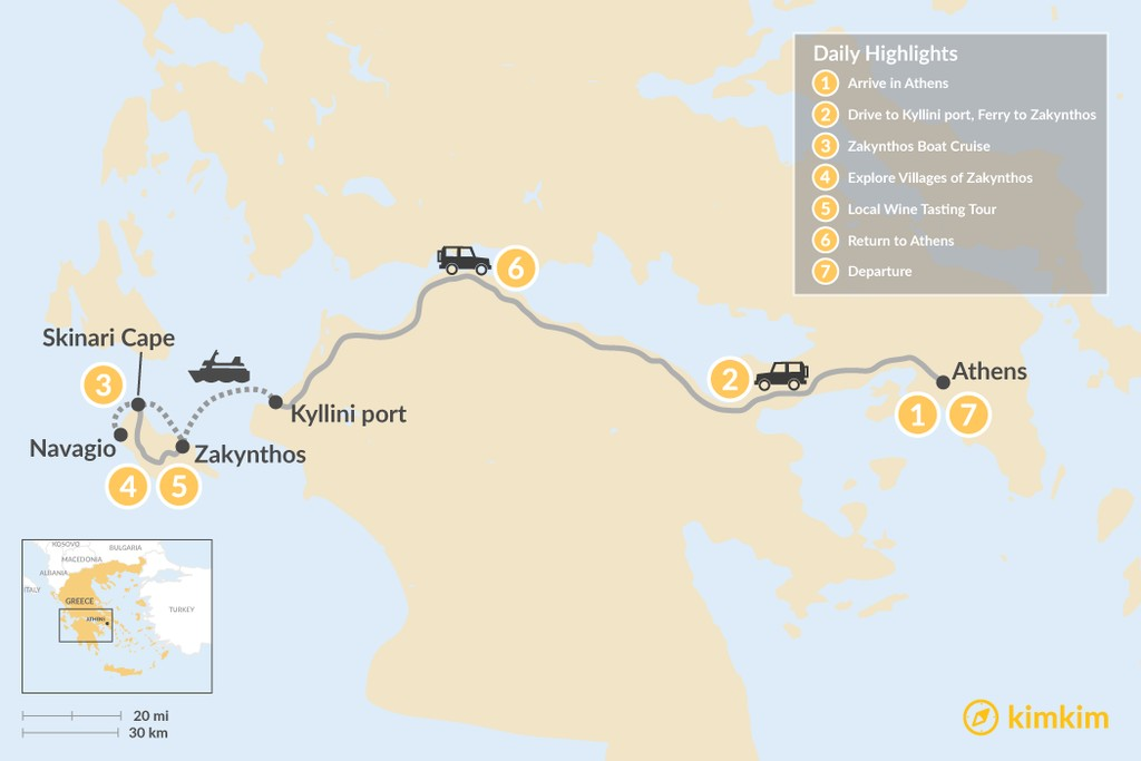 Map of Explore Zakynthos Island - 7 Days