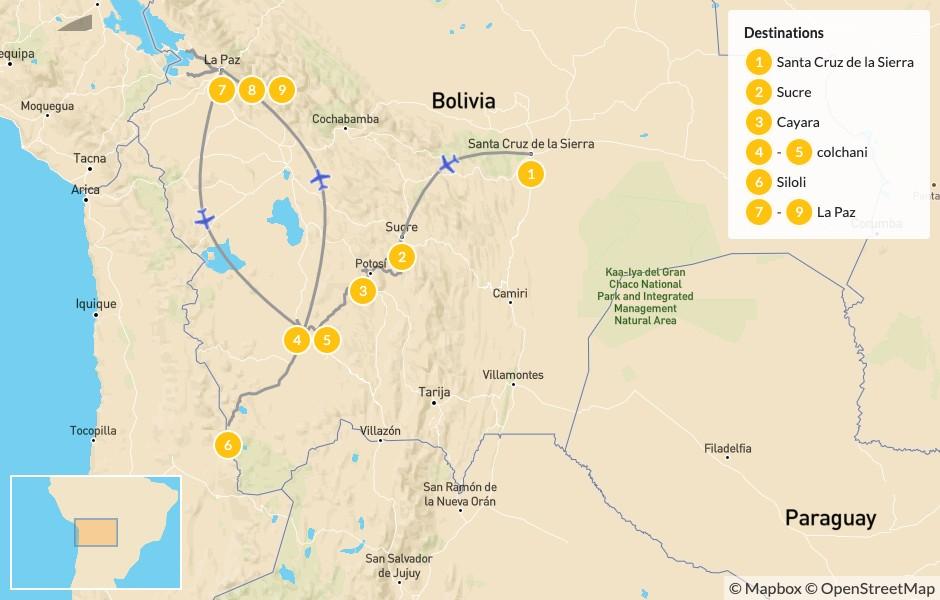 Map of Bolivia Highlights: La Paz, Sucre, Uyuni Salt Flats - 10 Days