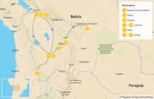 Map thumbnail of Bolivia Highlights: La Paz, Sucre, Uyuni Salt Flats - 10 Days