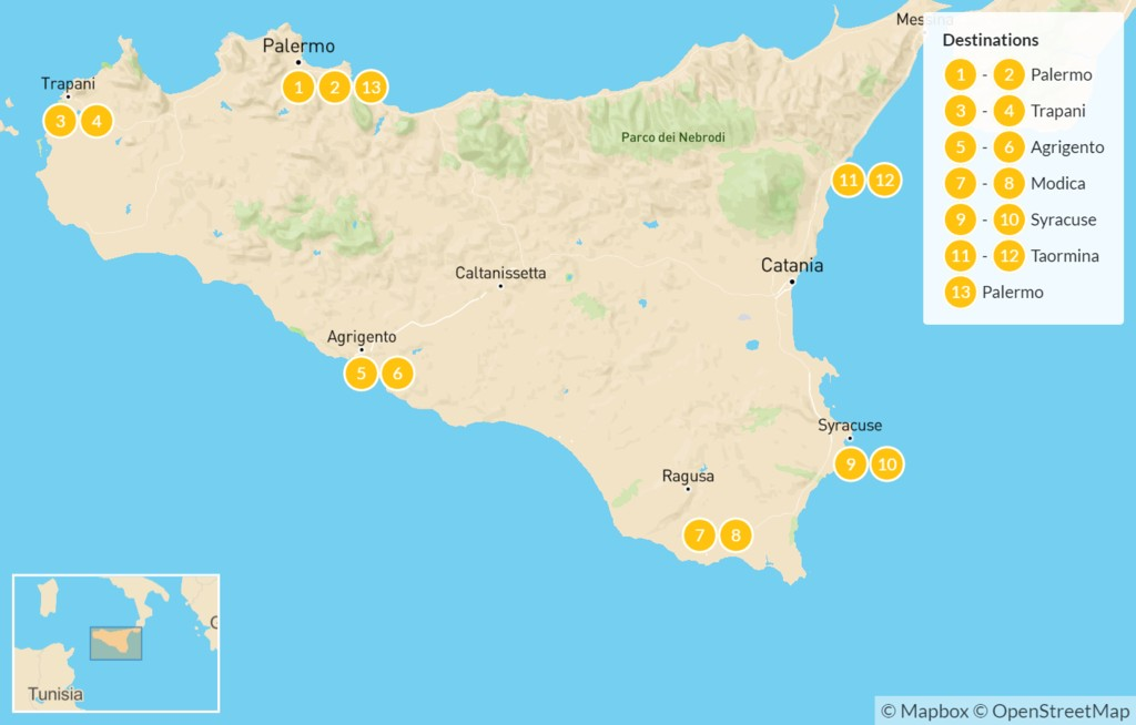 Map of Sicily Highlights Self-Drive Tour - 14 Days