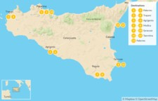 Map thumbnail of Sicily Highlights Self-Drive Tour - 14 Days