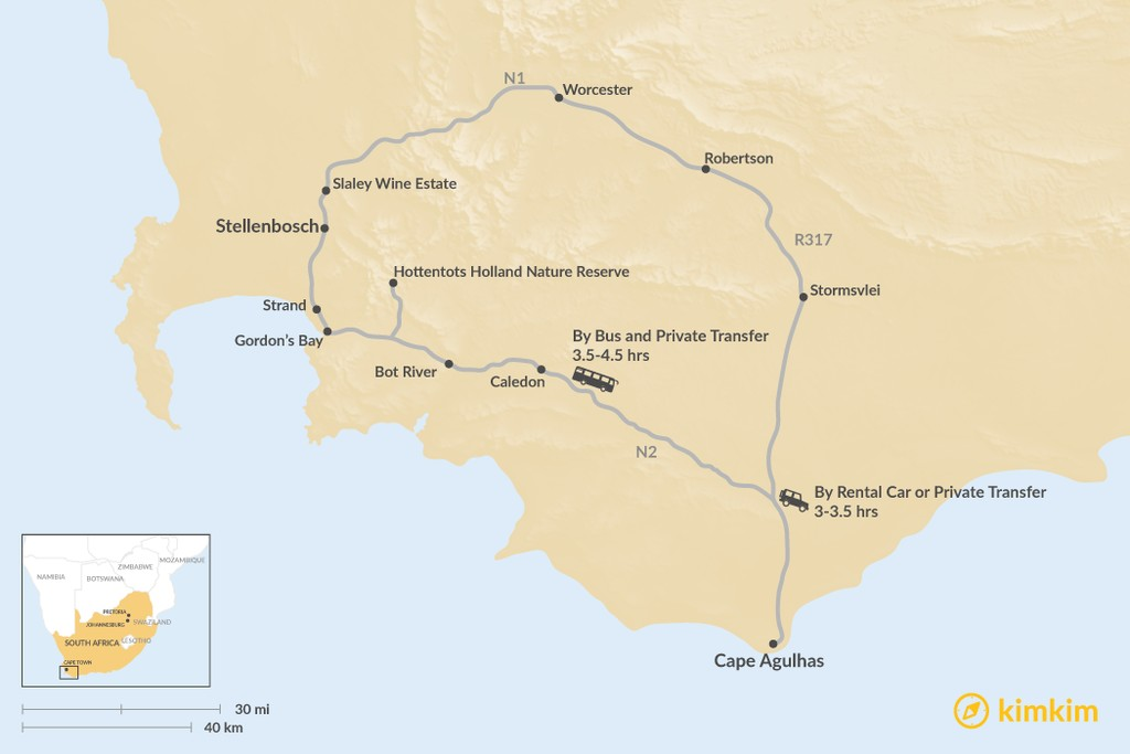 Map of How to Get from Stellenbosch to Cape Agulhas