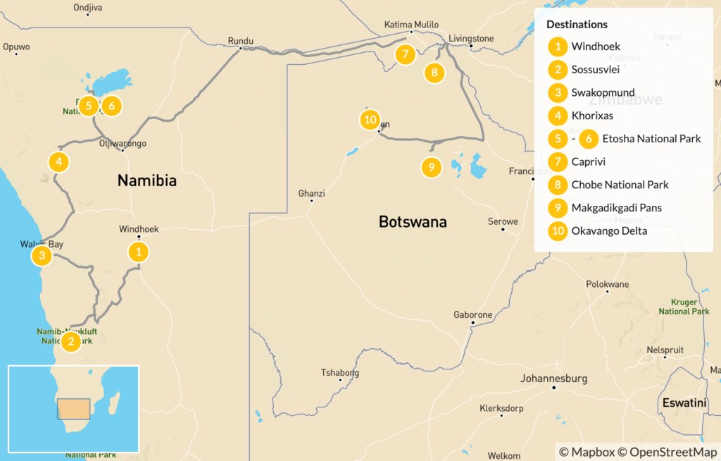 Map of Namibia & Botswana Safari Road Trip - 11 Days