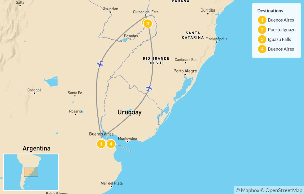Map of Buenos Aires & Iguazú Falls - 5 Days