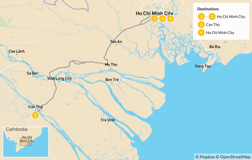 Map of Southern Vietnam Tour: Ho Chi Minh City & Beyond - 5 Days