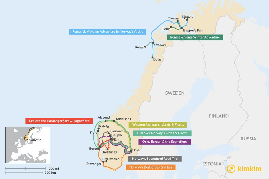 Map of 9 Days in Norway - 8 Unique Itinerary Ideas