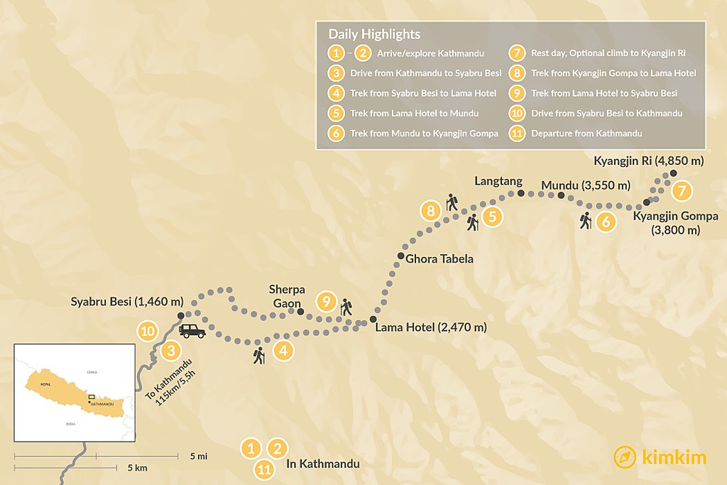 Map of Langtang Trek - 14 Days