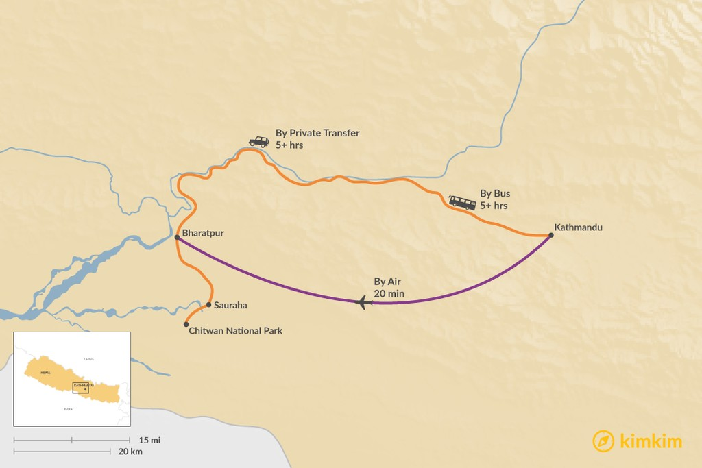 Map of How to Get from Kathmandu to Chitwan National Park