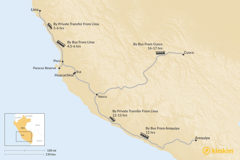 Map of How to Get to Huacachina