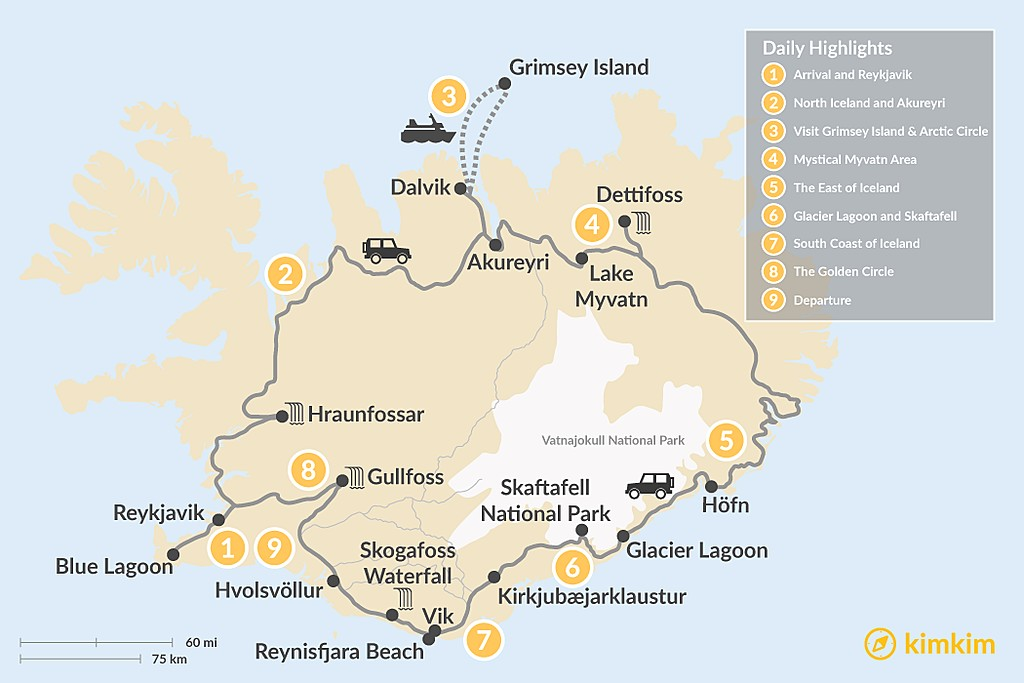 Map of 9 Days Iceland Round Tour with Grimsey Island included
