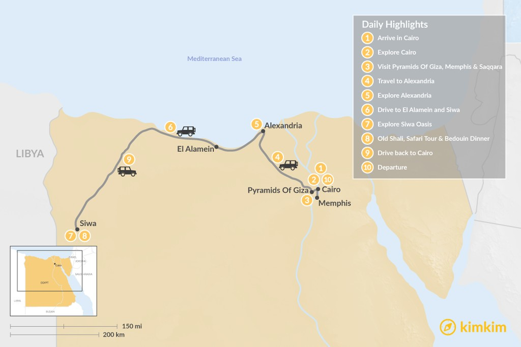 Map of Discover Cairo, Alexandria, and Siwa - 10 days