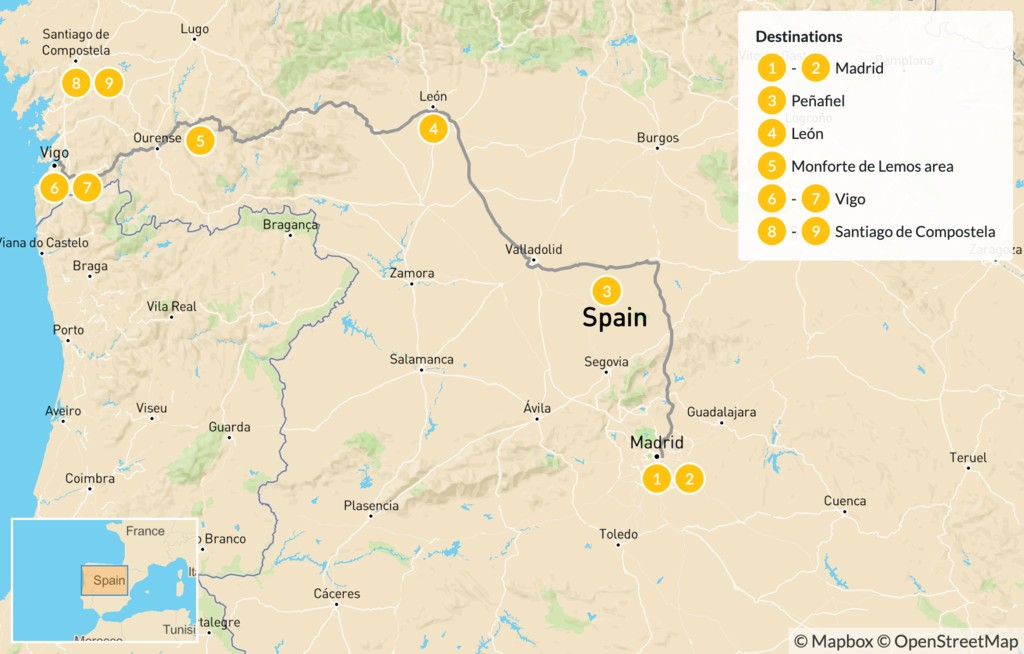 Map of Spain Road Trip: Madrid, Leon, & Santiago de Compostela - 10 Days
