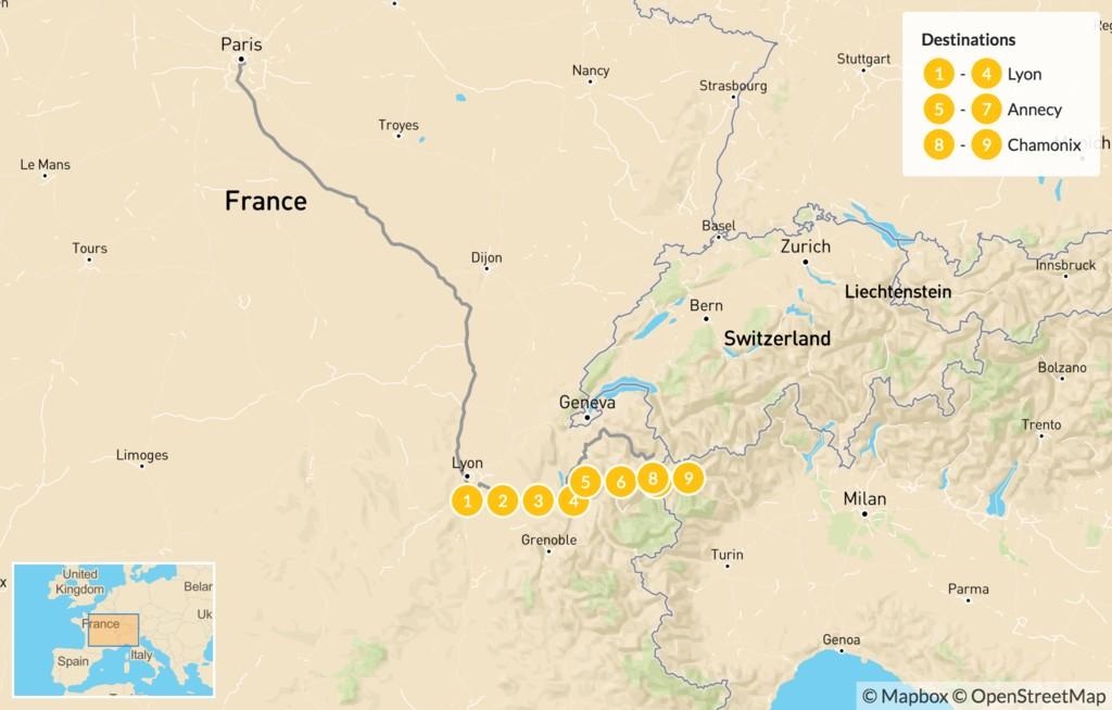 Map of Lyon, Annecy & Chamonix - 10 Days