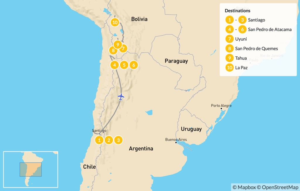 Map of Natural Wonders of Chile & Bolivia - 11 Days