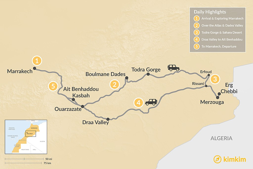 Map of Marrakech & Grand Tour of the Sahara Desert - 5 Days
