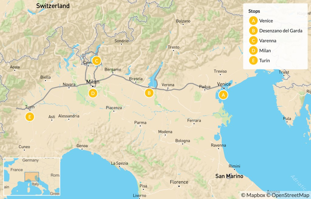 Map of Venice to Turin via the Lakes Region - 12 Days