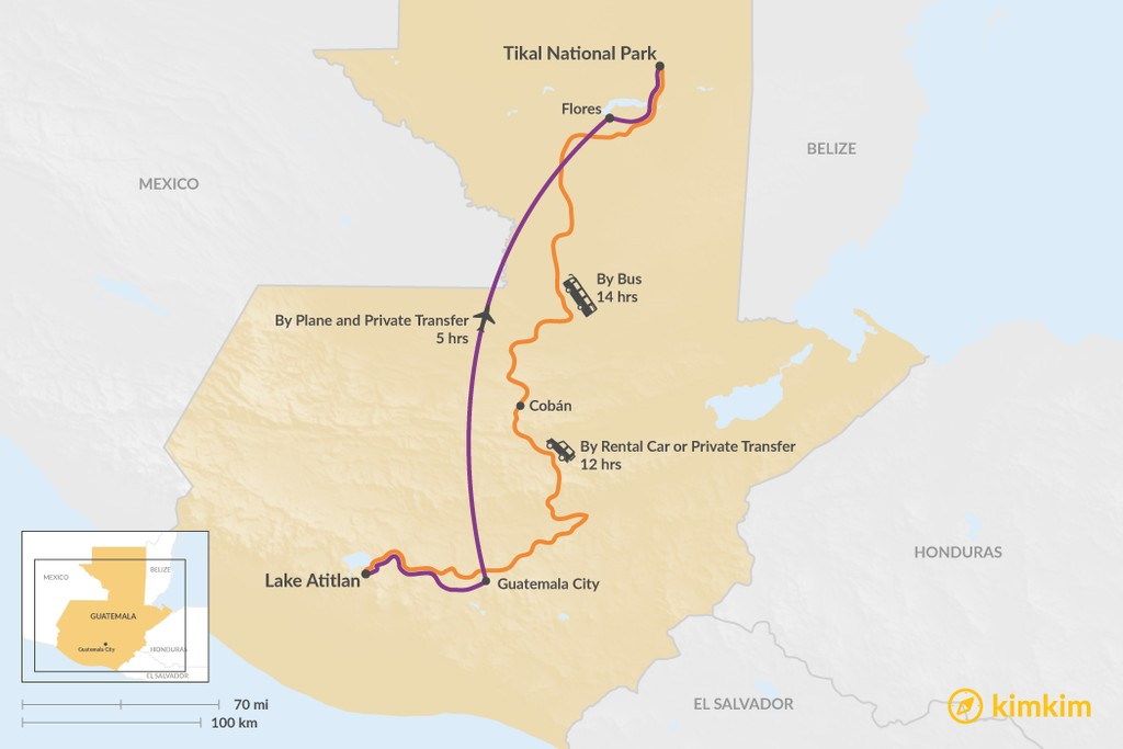 Map of How to Get from Lake Atitlan to Tikal National Park