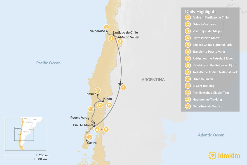 Map of Exploring Santiago & Chile's Lake District - 14 Days