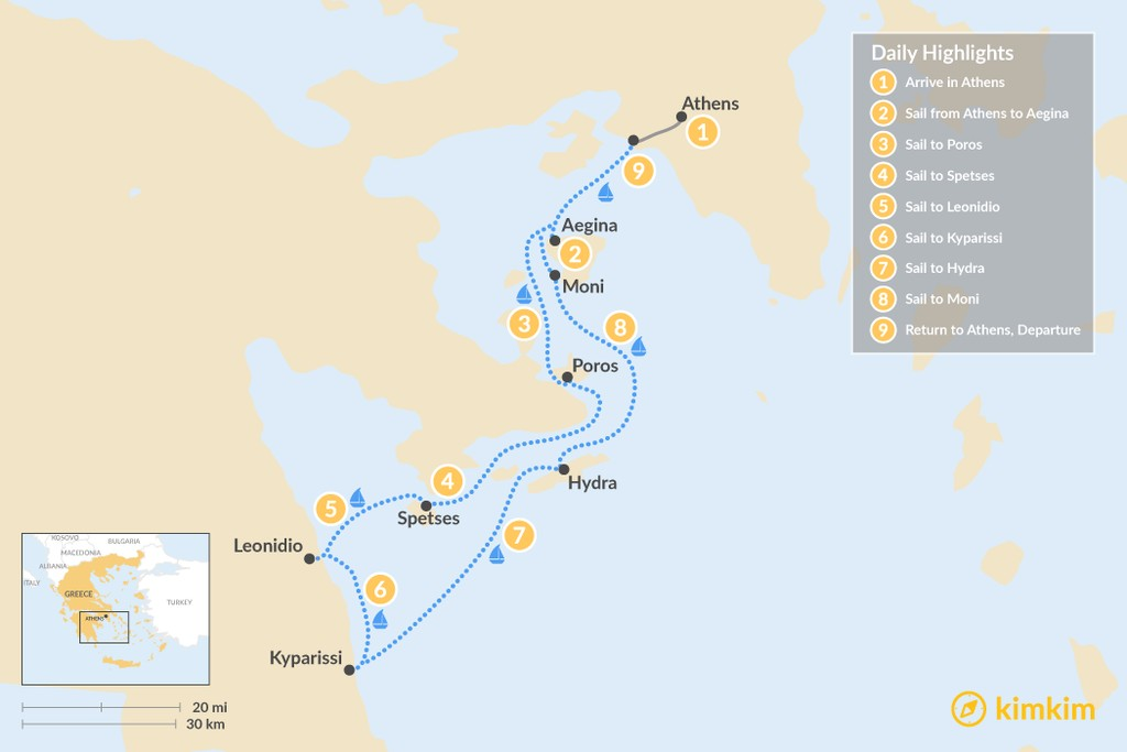 Map of Sailing Holiday in the Saronic Gulf - 9 Days