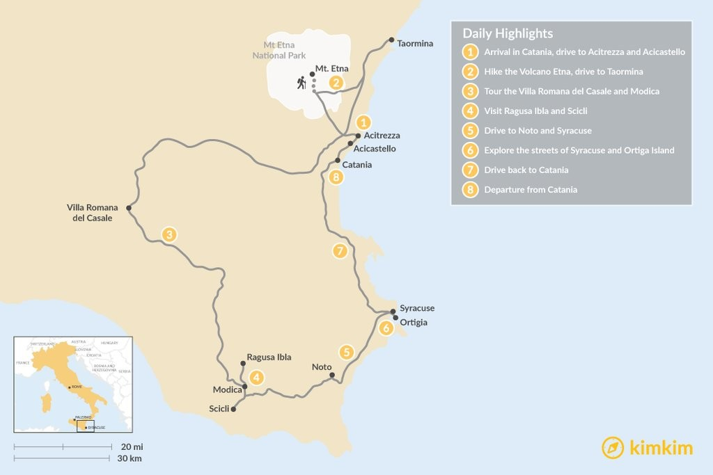 Map of Discover Sicily's East Coast: Picturesque and Stunning Sicily - 8 Days
