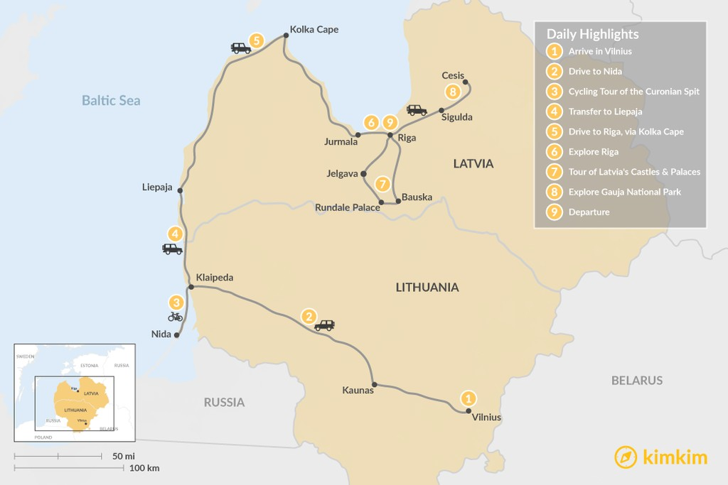 Map of Nature & History in the Baltics - 9 Days