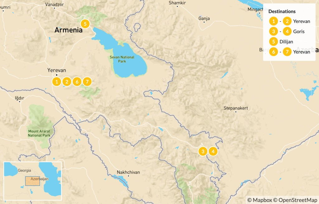Map of History & Hiking in Armenia  - 8 Days