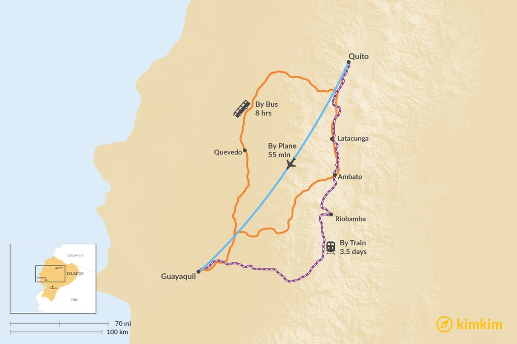 Map of How to Get from Quito to Guayaquil