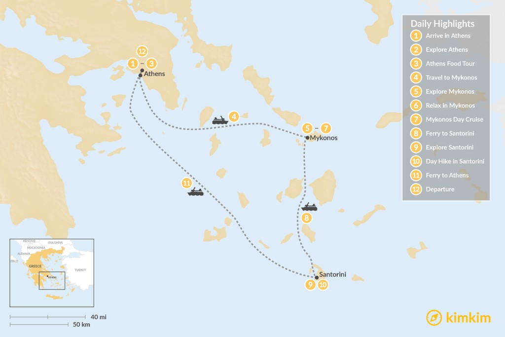 Map of Greek Hotspots in Athens, Mykonos & Santorini  - 12 Days