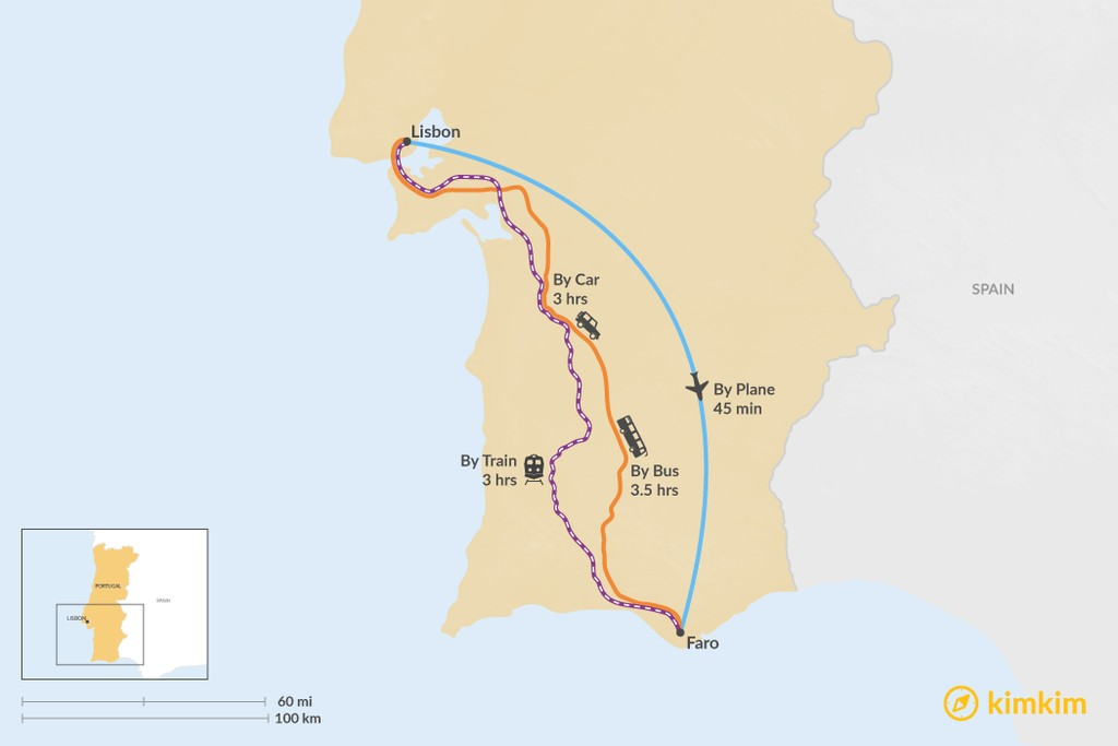 Map of How to Get from Lisbon to Faro