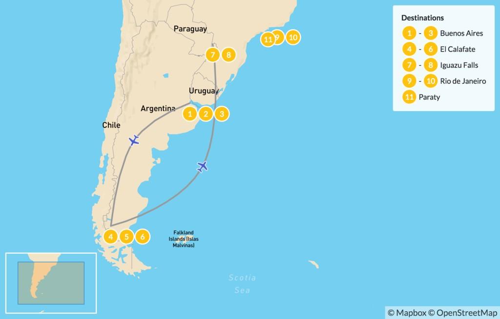 Map of Highlights of Argentina & Rio de Janeiro - 12 Days
