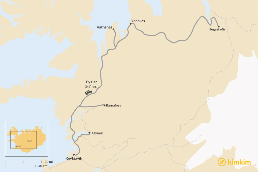 Map of How to Get from Reykjavik to Vatnsnes Peninsula