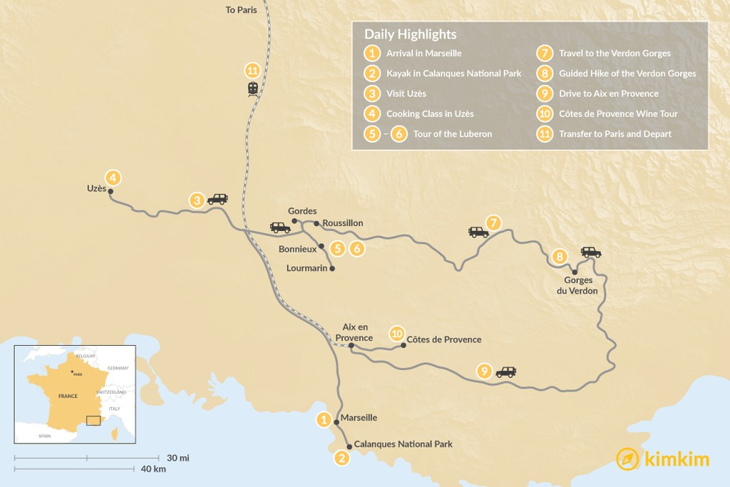 Map of Provence Highlights & Culture Self-Drive Tour - 11 Days