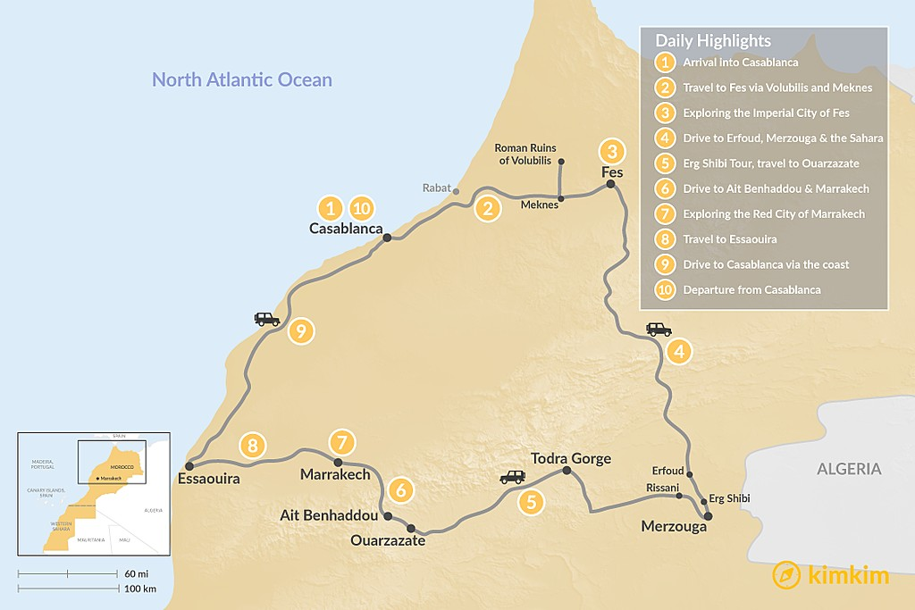 Map of Morocco Grand Tour: Cities, Desert, & the Coast - 10 Days