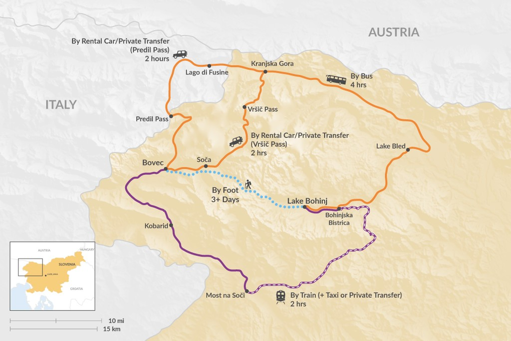 Map of How to Get from Bohinj to Bovec
