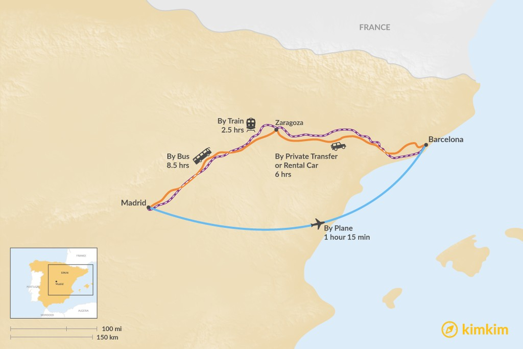 Map of How to Get from Madrid to Barcelona