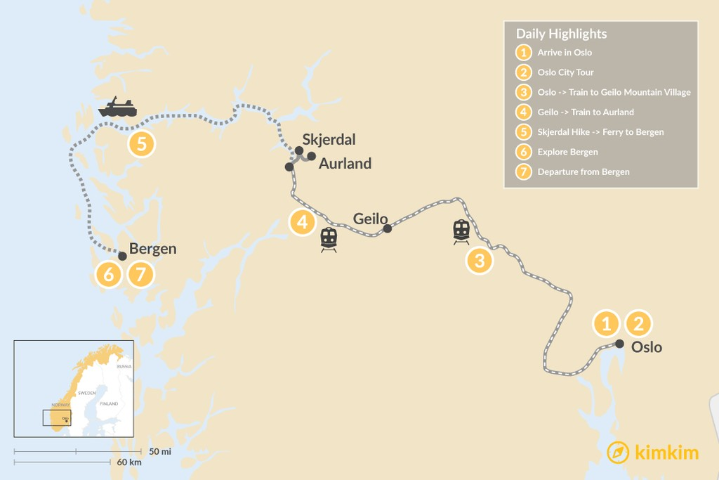 Map of Norway Epic Family Tour: Oslo, Fjords & Bergen - 7 Days