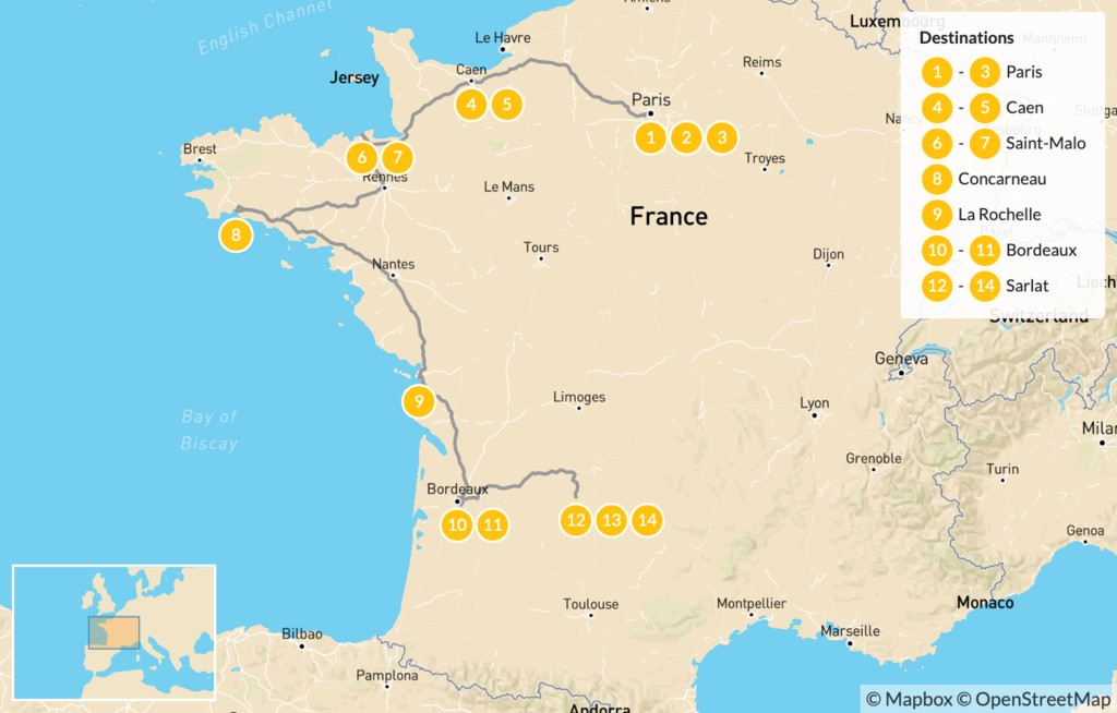 Map of Family Adventure in Western France: Paris, Caen, Saint-Malo, Bordeaux, & More - 15 Days