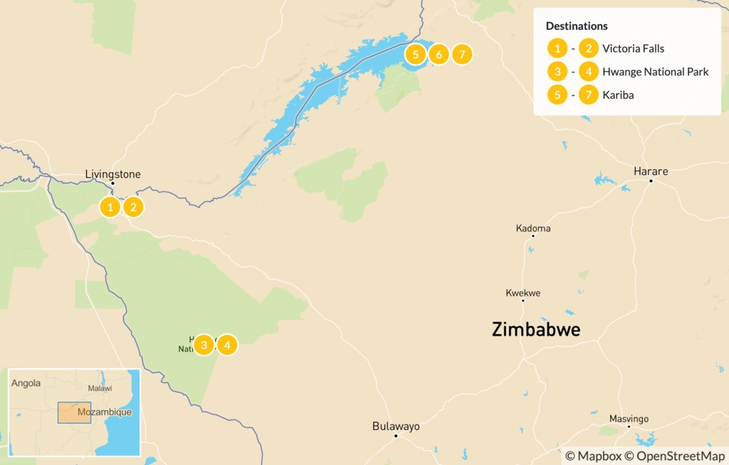 Map of Wildlife Spotting in Zimbabwe: Hwange & Lake Kariba - 8 Days