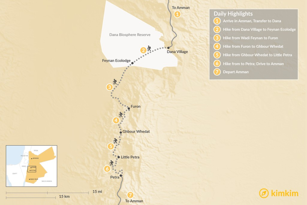 Map of Hike the Jordan Trail from Dana to Petra -7-days