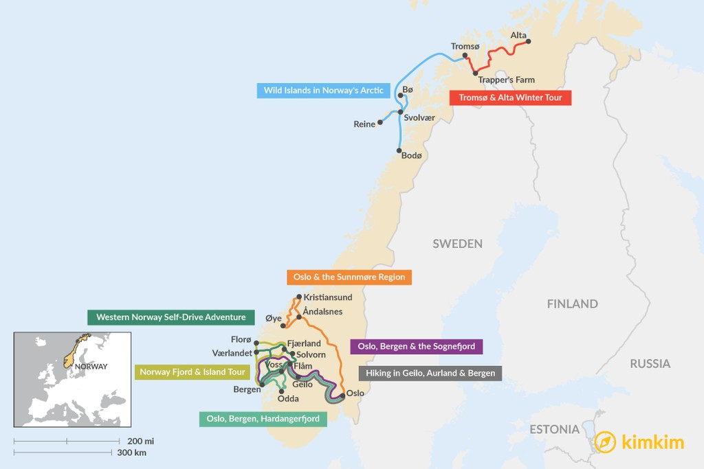 Map of 8 Days in Norway - 8 Unique Itinerary Ideas