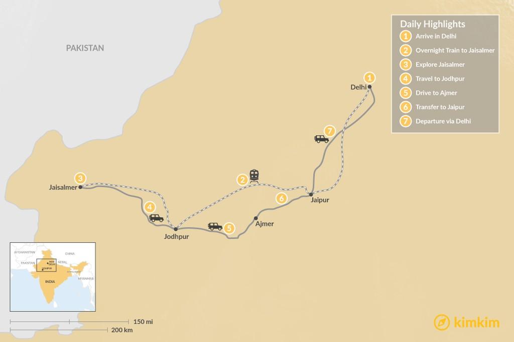 Map of Highlights of Rajasthan:  Delhi, Jaisalmer, Jodhpur, Ajmer, and Jaipur - 7 Days