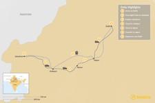 Map thumbnail of Highlights of Rajasthan:  Delhi, Jaisalmer, Jodhpur, Ajmer, and Jaipur - 7 Days