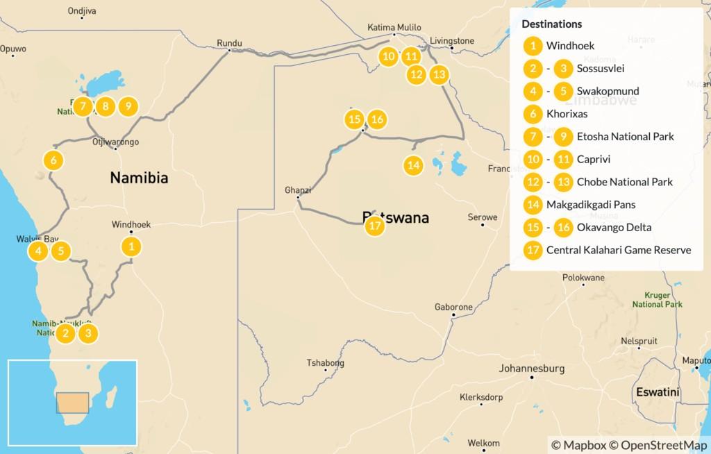 Map of Namibia & Botswana Safari Road Trip - 18 Days