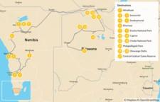 Map thumbnail of Namibia & Botswana Safari Road Trip - 18 Days