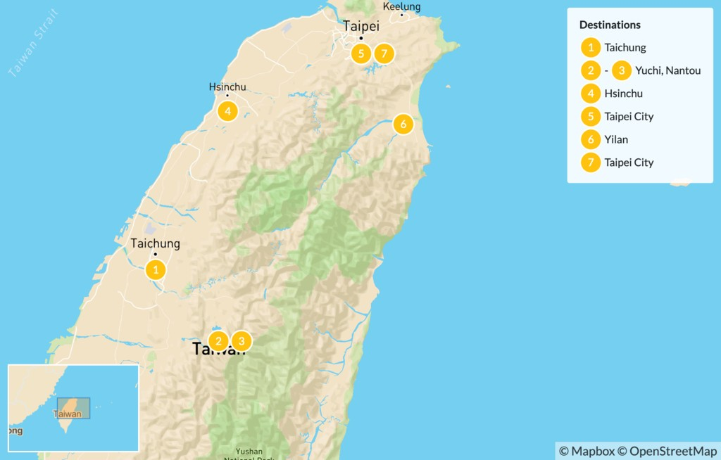 Map of Family Holiday Package in Taiwan - 7 Days