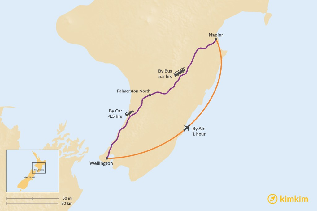 Map of How to Get from Wellington to Napier
